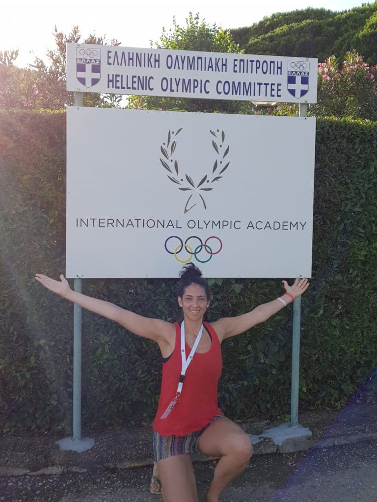 Photo of Lucía Giamberardino by the entrance of the IOA premises in Olympia